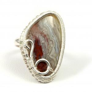 Agat koronkowy , Srebrny pierścionek z agatem, ręcznie wykonany, prezent dla niej, prezent dla mamy, prezent urodzinowy, biżuteria autorska