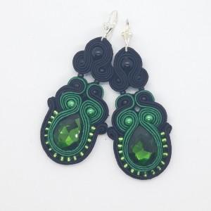 Zielono Czarne z Mega Błyskiem kolczyki sutasz