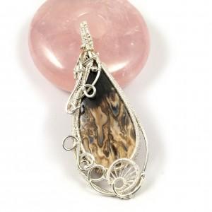 Agat bambusowy, srebrny wisior z agatem, prezent dla niej, prezent dla mamy, ręcznie robiona biżuteria autorska, pomysł na prezent