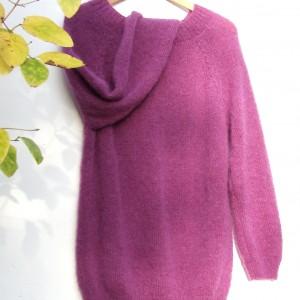 Moherowy sweter, długi, klasyczny wzór