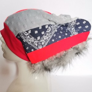 czapka szalona irokezowa smerfetka patchworkowa