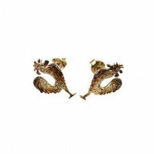 Małe koguciki brązowe- kolczyki srebrne
