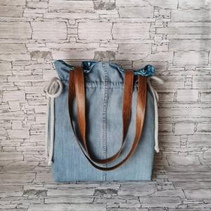 Torebka damska Kameleon - handmade worek dwustronna wodoodporna jeans na ramię
