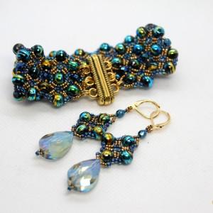 Kosmos - komplet biżuterii ze szklanych koralików