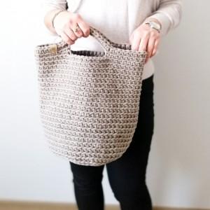 Duża torba na zakupy, Torebka damska,beżowa.