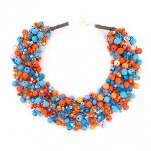 4363 naszyjnik niebieski pomarańczowy