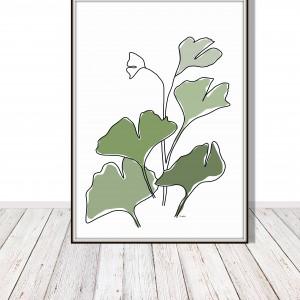 Miłorząb liście, grafika autorska, minimalistyczna