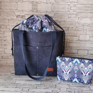 Zestaw torebka z kominem + kosmetyczka nubuk wodoodporna handmade  niebieska