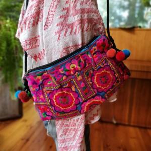torba haftowana hmong kwiaty etno boho
