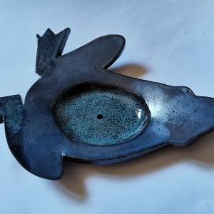 Ceramiczna szkliwiona żaba mydelniczka