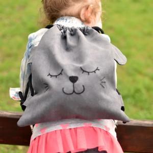 Plecak dziecięcy szary kotek