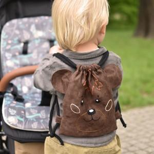 Mini plecak dziecięcy ciemnobrązowy miś