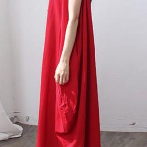 bawełniana czerwona sukienka oversize M