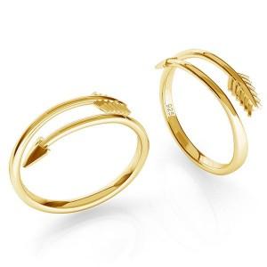 pierścionek STRZAŁA- srebro złocone