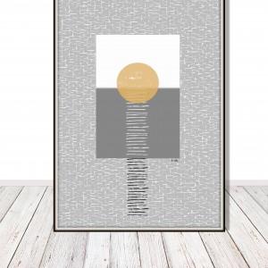 Słońce, grafika autorska, abstrakcja w szarościach