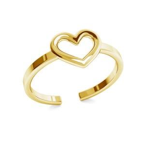 pierścionek SERDUSZKO- srebro złocone