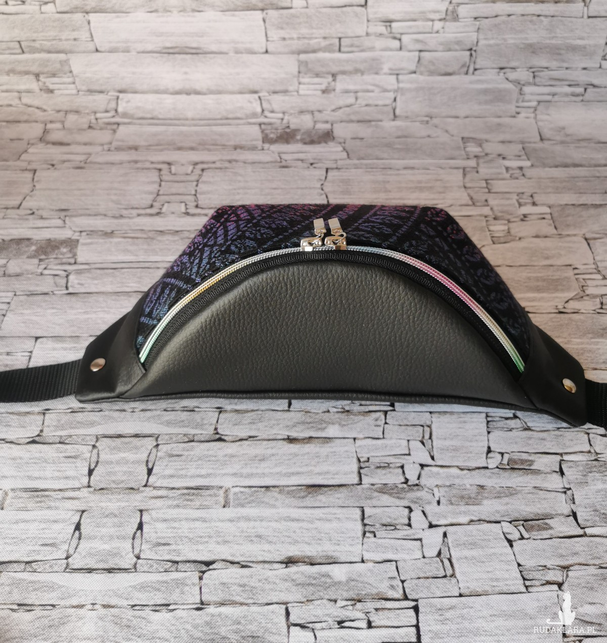 Nerka saszetka biodrowa  wodoodporna pawi ogon - czarny opal  rozmiar L