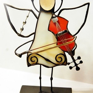 Aniołek witrażowy 3D  skrzypek/skrzypaczka
