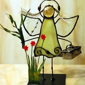 Aniołek witrażowy 3D  zielarka
