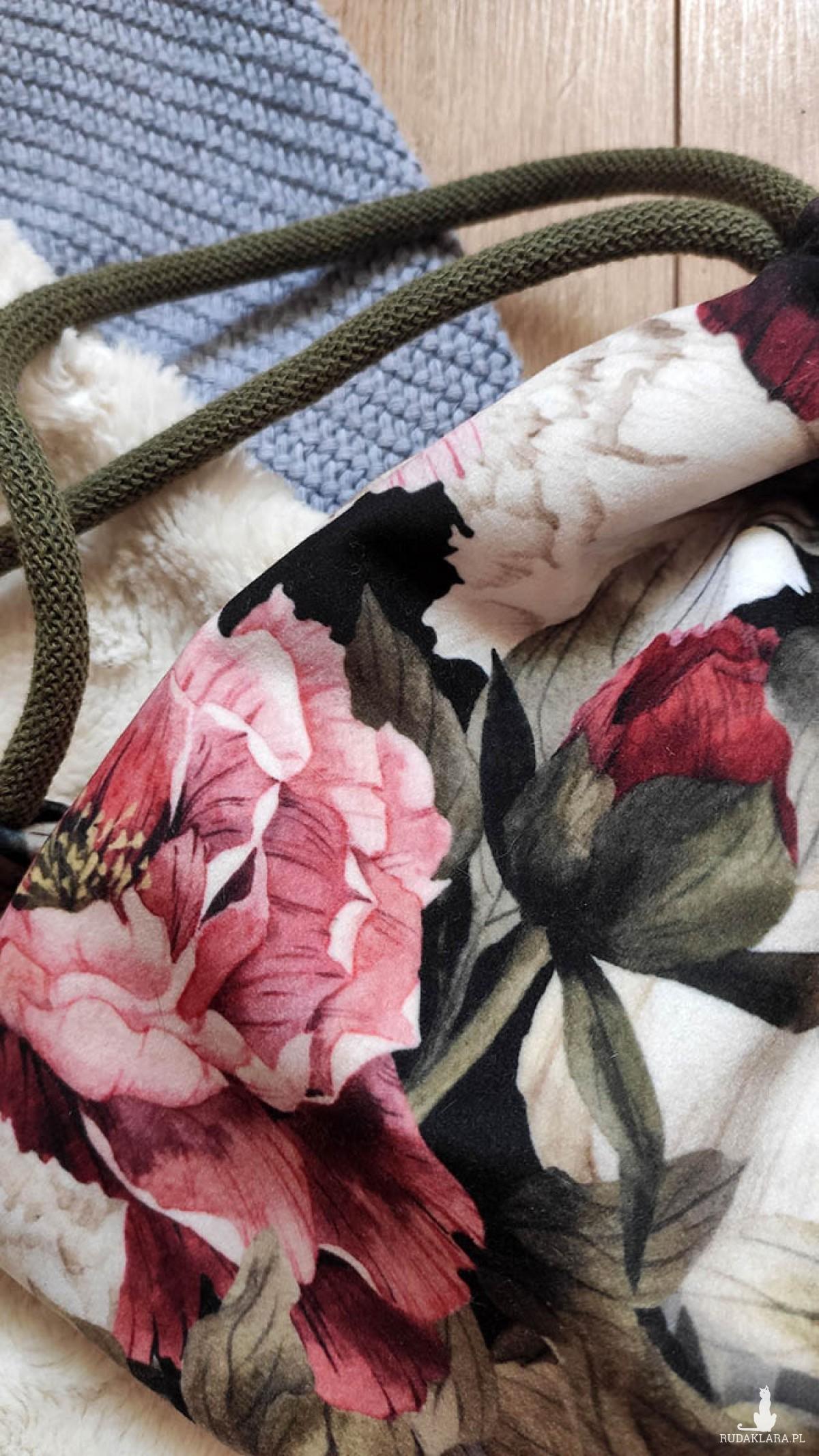 Mini plecak worek w kwiaty