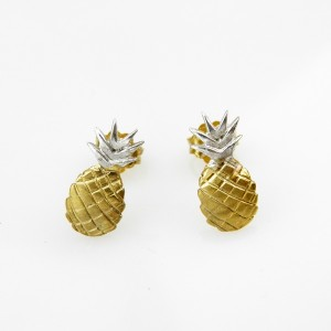 Ananasy złote - kolczyki srebrne