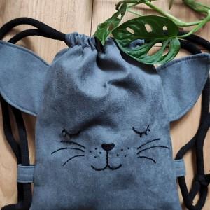 Mini plecak dziecięcy  szary kotek
