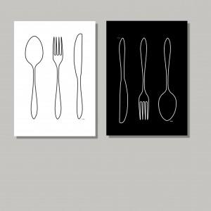 Grafiki do kuchni lub jadalni, komplet 2 sztuki, czarno-biały zestaw