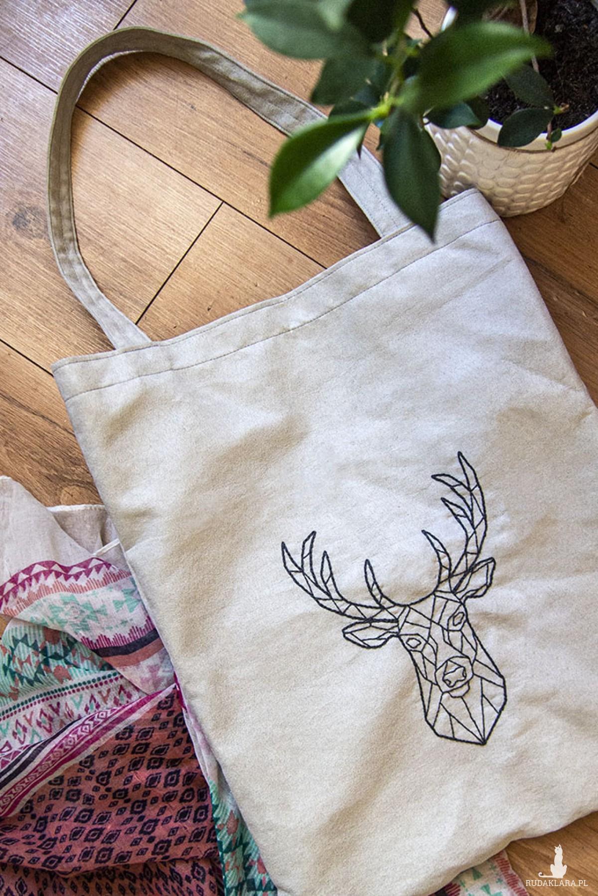 Duża torba na ramię z geometrycznym jeleniem