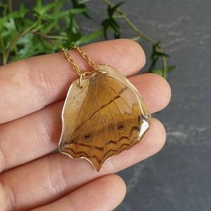 Wisiorek ze skrzydła prawdziwego motyla dwustronny 32 mm