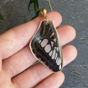 Wisiorek ze skrzydła prawdziwego motyla dwustronny 45 mm