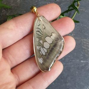 Wisiorek ze skrzydła prawdziwego motyla dwustronny 47 mm