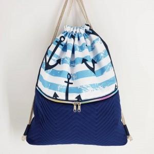 Plecak w kotwice z weluru worek z kieszeniami
