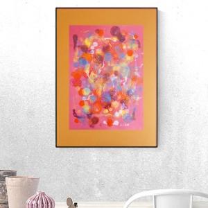 grafika w ciepłych kolorach, abstrakcja ręcznie malowana, nowoczesna grafika na ścianę, dekoracja do loftu