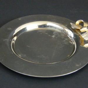 Metalowy talerzyk tacka podstawka z kokardką