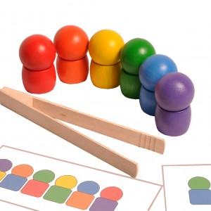 Układanka Kulka na beczułce + schematy i szczypce Montessori
