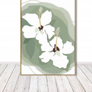 Grafika autorska, Białe kwiaty hibiscusa, subtelna kolorystyka