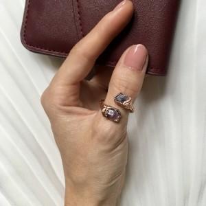 miedziany pierścionek z różowym turmalinem