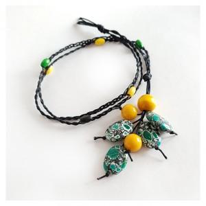 4951 długi naszyjnik drewno jadeit