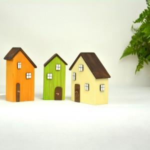 Drewniane domki dekoracyjne - zestaw 2