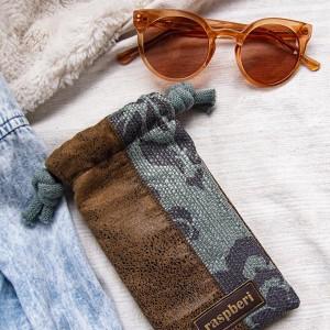 Etui na okulary brązowo-szałwiowe