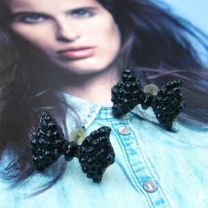 Kolczyki sztyft: kokardki czarne