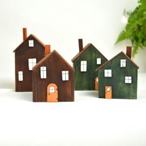 Drewniane domki dekoracyjne – zestaw 4