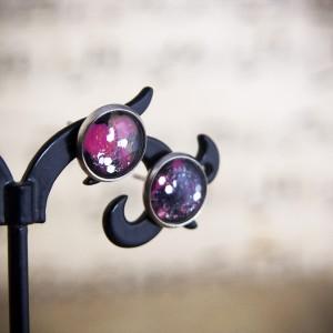 Kolczyki sztyfty, różowy kosmos, ręcznie malowane szkło