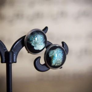 Kolczyki sztyfty, miętowy kosmos, ręcznie malowane szkło