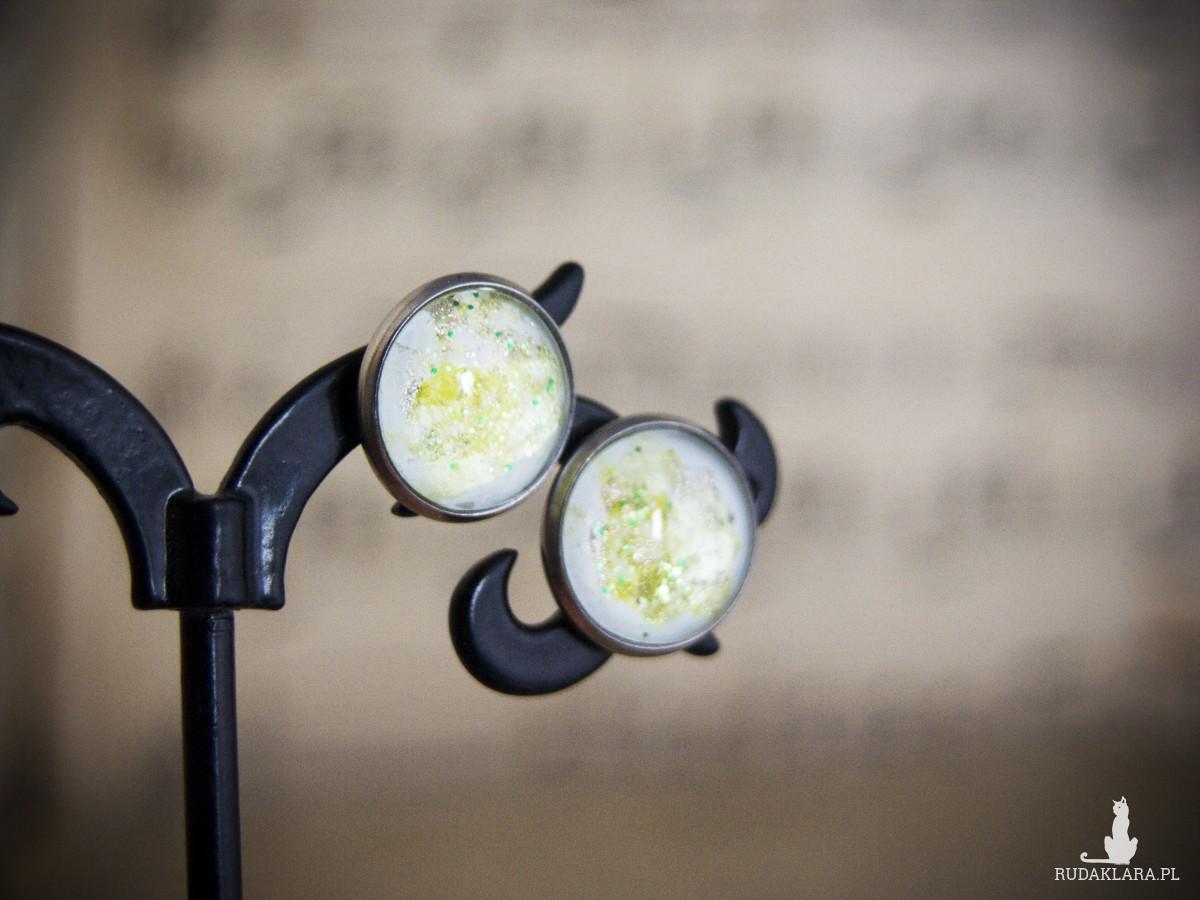 Kolczyki sztyfty, żółte, ręcznie malowane szkło
