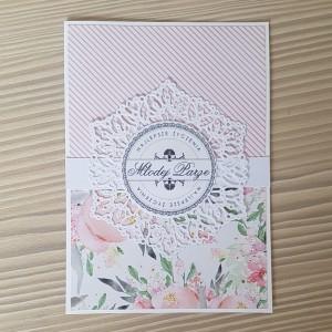 Kartka ślubna biel i róż