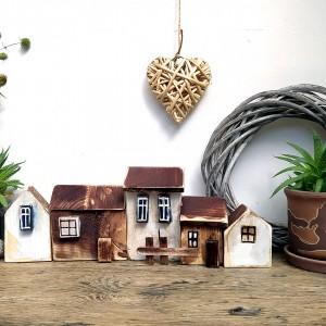 Zestaw domków dekoracyjnych, brązowo-biały