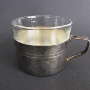 Filiżanka - szklanka z koszyczkiem srebrnym