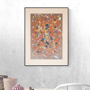 abstrakcja w ciepłych kolorach, nowoczesny rysunek do loftu, abstrakcyjny  obraz, minimalizm grafika do domu