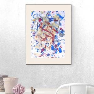 nowoczesny rysunek, abstrakcja do loftu, obraz ciepłe kolory, minimalistyczna dekoracja na ścianę, grafika do sypialni